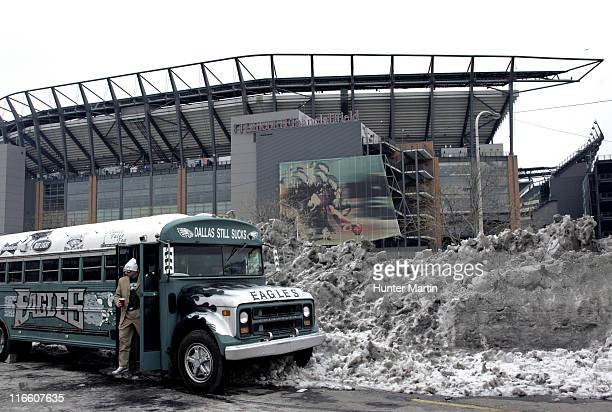 A lone Eagles fan steps out of a custommade Eagles tailgating bus in a parking lot at Lincoln Financial Field New York Giants at Philadelphia Eagles...