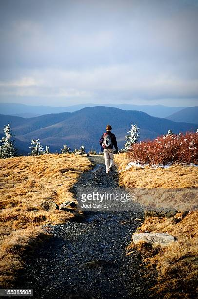 Lone female hiker on Roan Mountain section of Appalachian Trail