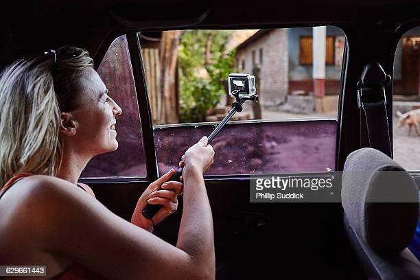 Lone Female Traveller GoPro Filming From Taxi Car