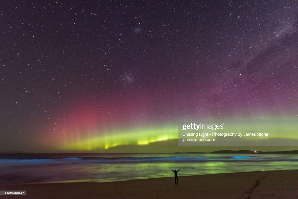 A lone figure in silhouette stands on a beach watching an incredible bright green display of the Aurora Australis or Southern Lights over a beach in Tasmania with bright blue bioluminescence in the waves. : Stock Photo