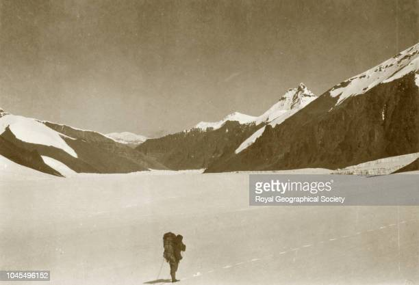 Lone figure in the snow Tibet China Mount Everest Expedition 1921