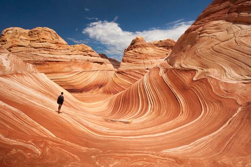 Lone hiker at Arizona's Wave 636004852