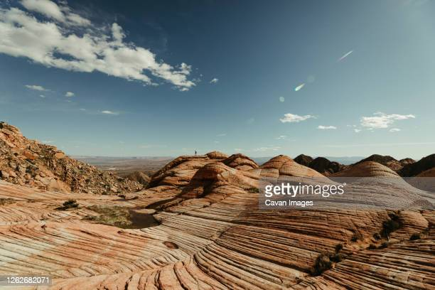lone hiker on top of yant flats desert landscape near st. george utah - st. george utah stock pictures, royalty-free photos & images
