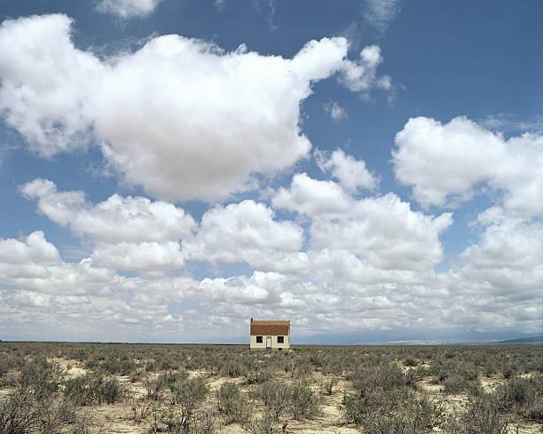 Lone House In Desert Field Wall Art