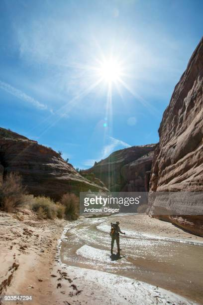 Lone man hiking with backpack and hat through deep dramatic red rock desert slot canyon along river.