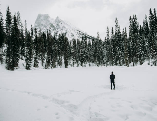 lone man in suit stands alone on snow covered lake with mountains