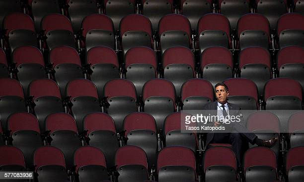 Lone man watches the first day of the Republican National Convention on July 18, 2016 at the Quicken Loans Arena in Cleveland, Ohio. An estimated...