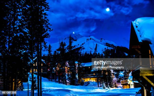 lone mountain and big sky montana at night - highlywood stock pictures, royalty-free photos & images