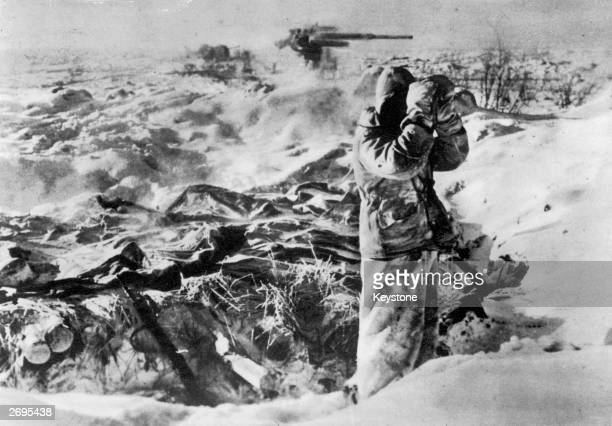Lone Nazi soldier in a snowbound gun-emplacment scans the horizon for the advancing Red Army. Orel is the hinge between the central and southern...
