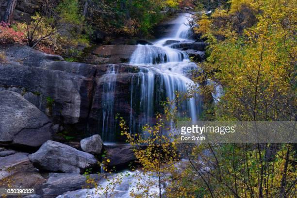 lone pine creek falls at whitney portal - don smith stock-fotos und bilder