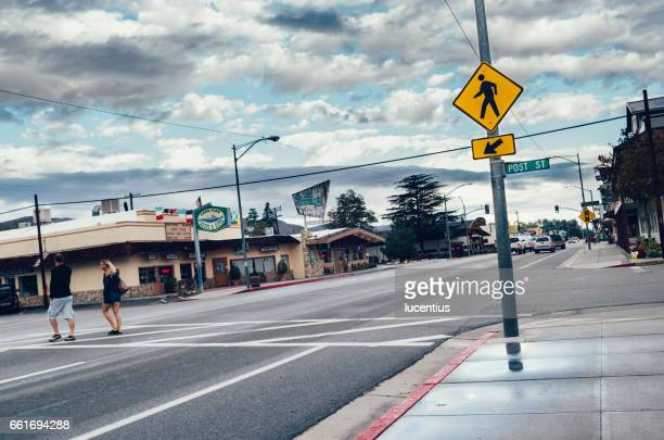 lone pine, owens valley, california, usa - pedestrian crossing sign stock photos and pictures