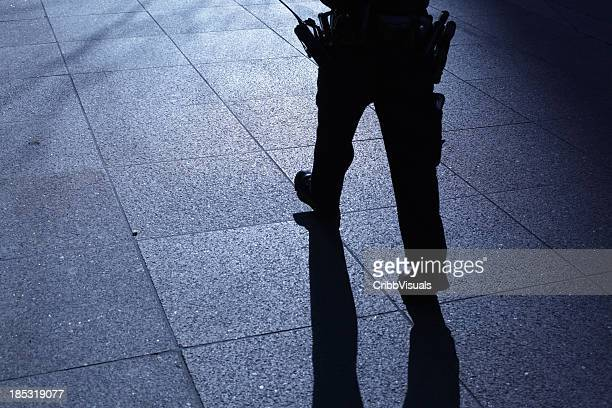 Lone police officer walking in blue night shadows