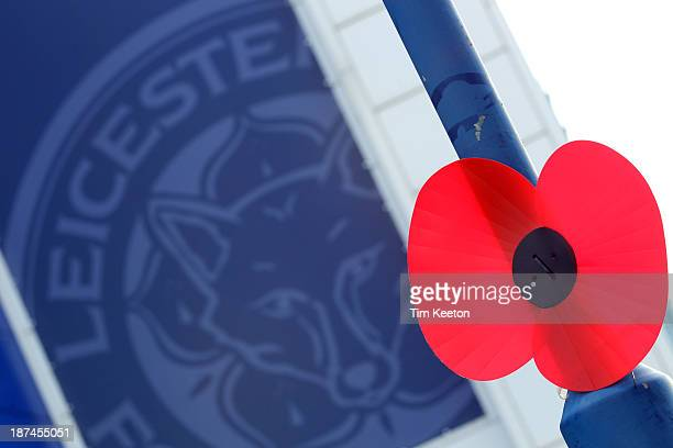 A lone poppy outside the King Power Stadium during the Sky Bet Championship match between Leicester City and Nottingham Forest at The King Power...