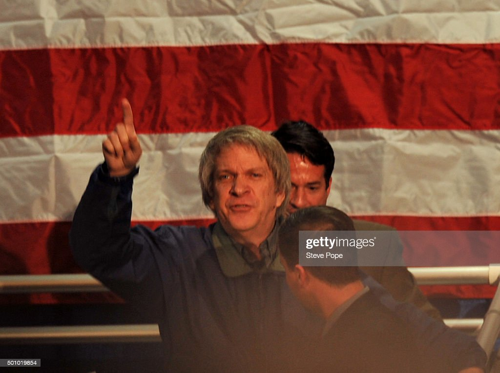A lone protester shouts as he is removed from Republican Presidential Candidate Donald Trump's Town Hall style campaign rally at the Varied Industries Building at Iowa State Fair Grounds on December 11, 2015 in Des Moines, Iowa. Recent polls continue to show Trump holding a lead in the race for the Republican nomination for President. (Photo by Steve Pope/Getty Images