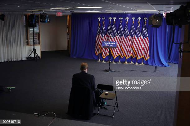 A lone reporter remains following a news conference with hedge fund billionaire Democratic megadonor and environmentalist Tom Steyer January 8 2018...