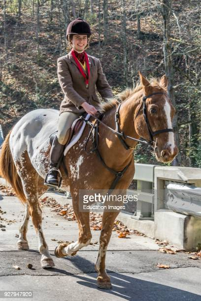 Lone rider at the Annual Blessing of the Hounds at the Iroquois Hunt Club in Kentucky