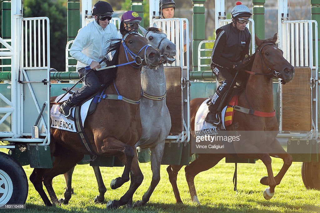 Lone Rock, Luckygray and Glen Boss riding Fontelina jump out of the gates in a barrier trial down the straight during a trackwork session at Flemington Racecourse on March 5, 2013 in Melbourne, Australia.
