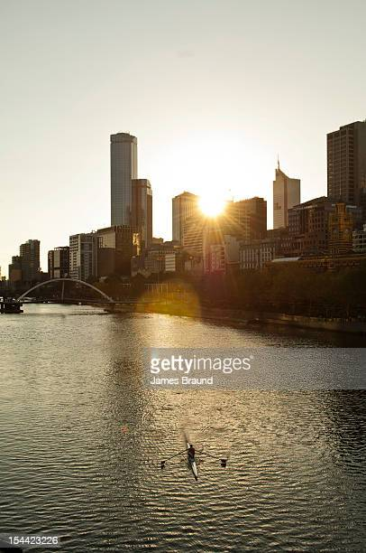 Lone rower on Yarra River