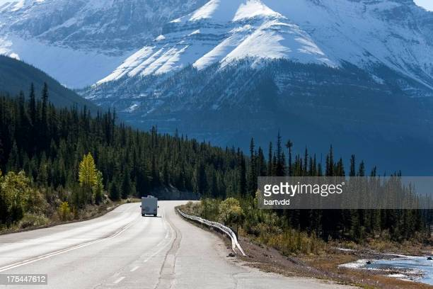 Lone RV traveling along Icefield Parkway, Canada