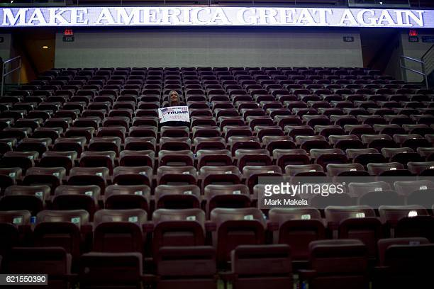 A lone supporter remains after Republican Presidential nominee Donald J Trump held a rally at Giant Center November 4 2016 in Hershey Pennsylvania...