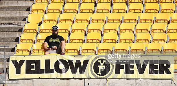 A lone supporter sits above a Yellow Fever sign during the round 18 ALeague match between Wellington Phoenix and Perth Glory at Westpac Stadium on...
