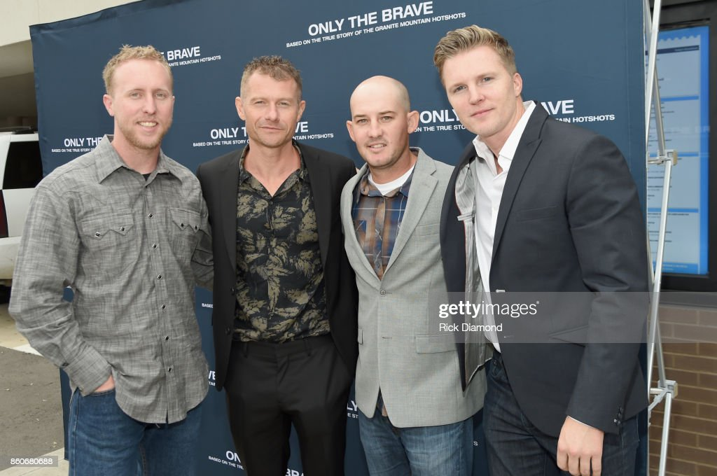 Lone survivor of Yarnell Fire Brendan McDonough, actor James Badge Dale, tech advisor Pat McCarty and producer Trent Luckinbill attend 'Only The Brave' Nashville Screening Hosted by Dierks Bentley at The Belcourt Theatre on October 12, 2017 in Nashville, Tennessee.