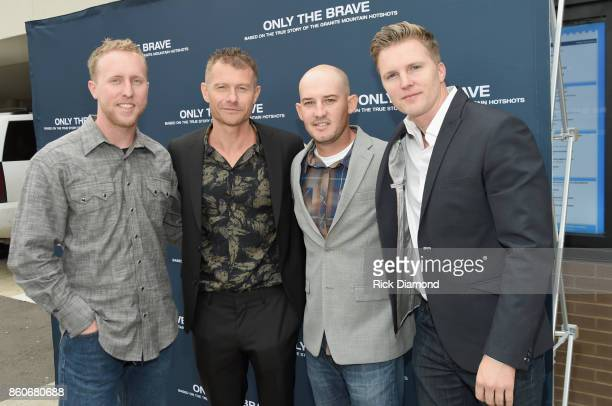 Lone survivor of Yarnell Fire Brendan McDonough actor James Badge Dale tech advisor Pat McCarty and producer Trent Luckinbill attend 'Only The Brave'...