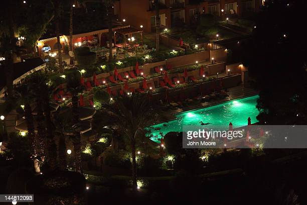 A lone tourist swims laps at the Marriott hotel on May 18 2012 in Cairo Egypt Tourism in Egypt has suffered greatly since last year's Arab Spring...