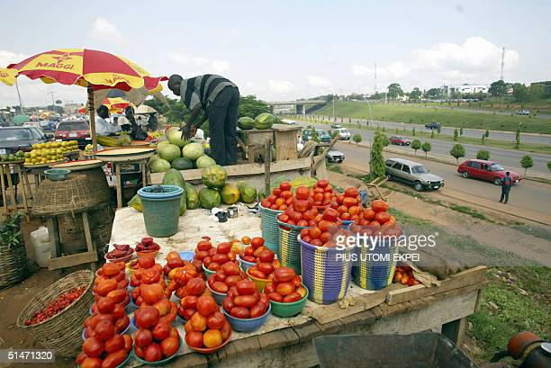A lone tradesman man sells fruit and vegetables in Abuja 12 October 2004 Defiant Nigerian union leaders took a nationwide general strike into a...