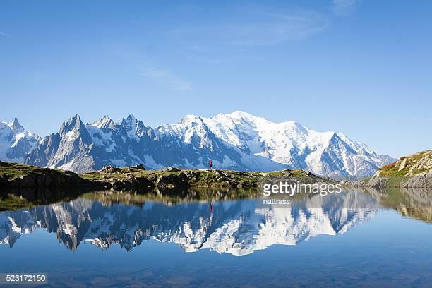 Lone traveler hikes near Lac Blanc in Chamonix