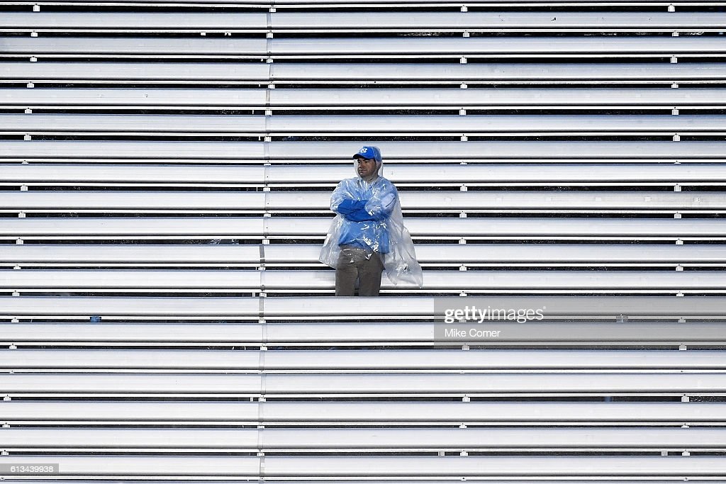 A lone UNC Tar Heel football fan looks on during a loss against the Virginia Tech Hokies at Kenan Stadium on October 8, 2016 in Chapel Hill, North Carolina.