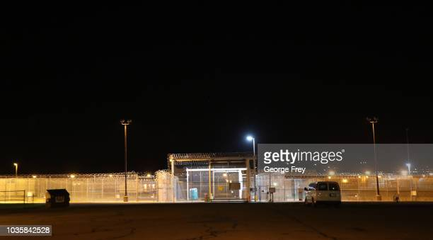 A lone van sits outside an entrance gate to the Utah Sate Prison woman facility on September 19 2018 in Draper Utah Wanda Barzee who helped kidnap...