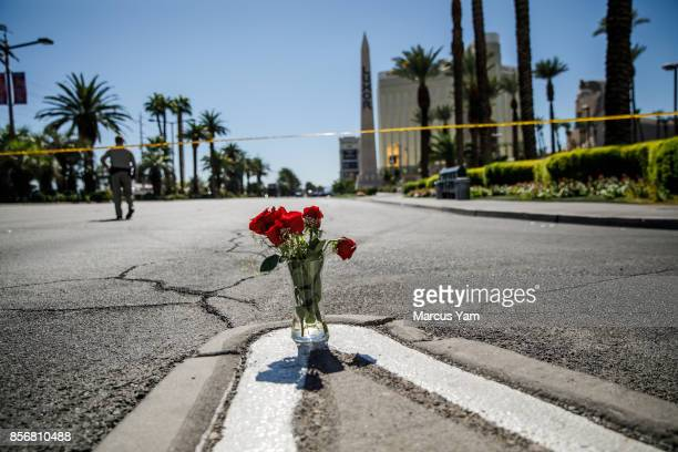 A lone vase of flowers left behind for the victims of the mass shooting in Las Vegas Nevada on Oct 2 2017