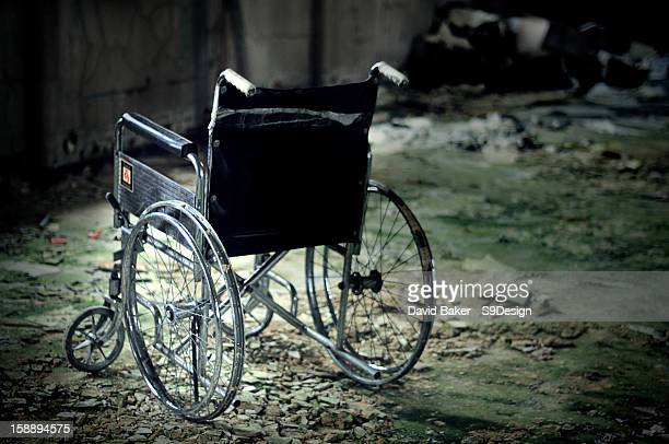 Lone Wheelchair in abandoned mental asylum