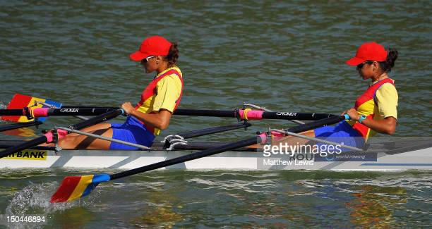 LonelaLivia Lehaci and Andreea Asoltanei of Romania compete in the Junior Women's Double Sculls Semi Final during day four of the FISA Rowing World...