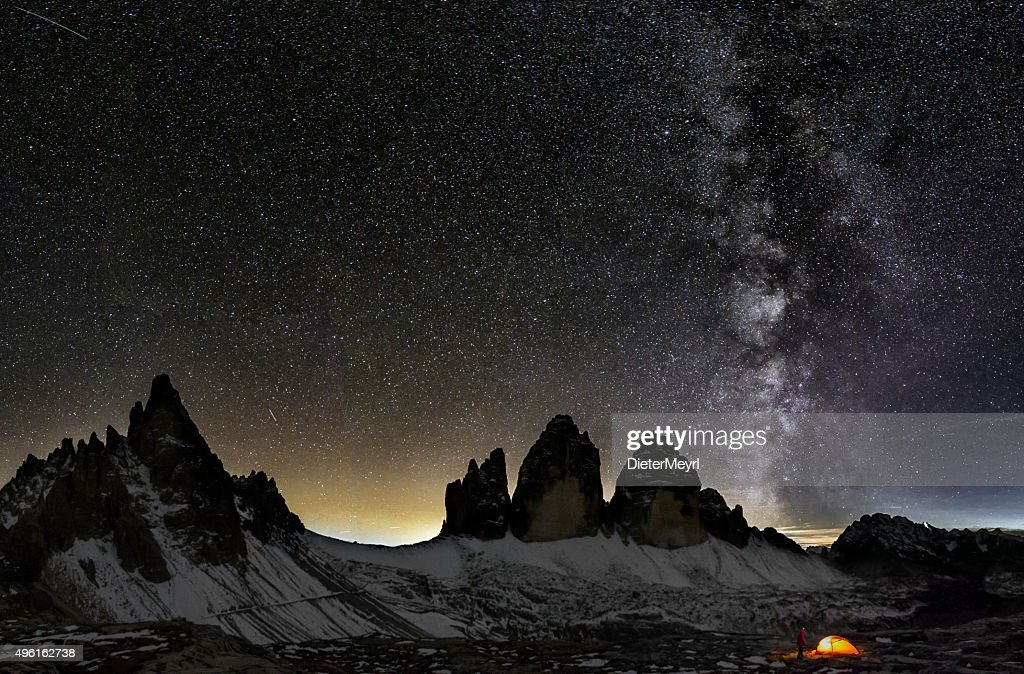 Loneley Camper under Milky Way at the Dolomites : Stock Photo