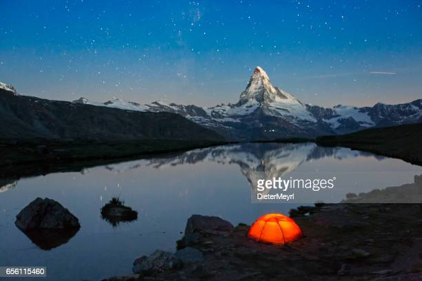 Loneley Tent under stary sky at Matterhorn