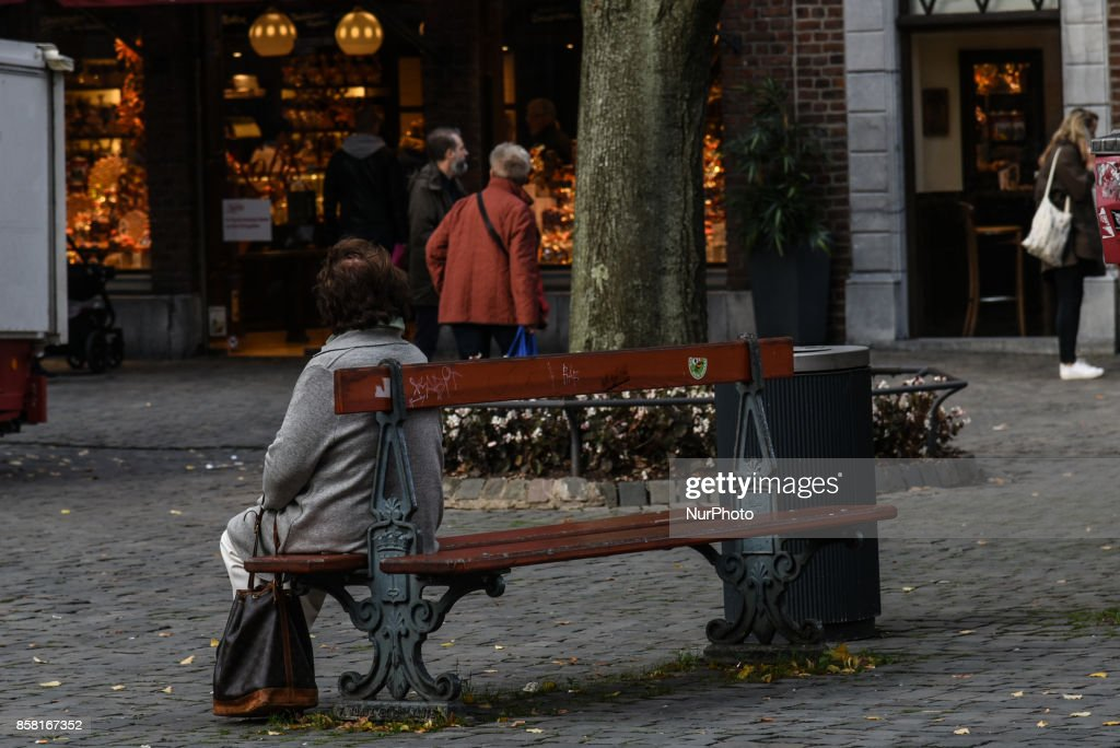 Loneliness of the third age people, a female pensioneer in the city of Aachen, Germany, on October 5, 2017
