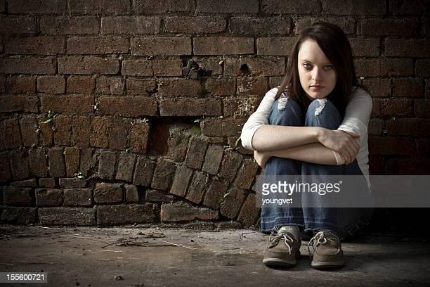 Lonely and homeless runaway teenage girl