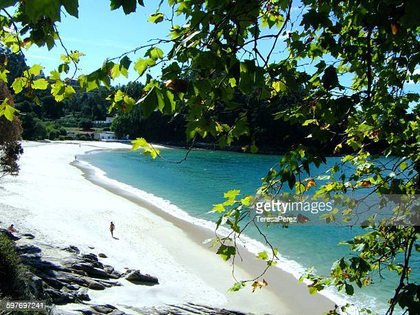 lonely beach in pontevedra - pontevedra province stock pictures, royalty-free photos & images