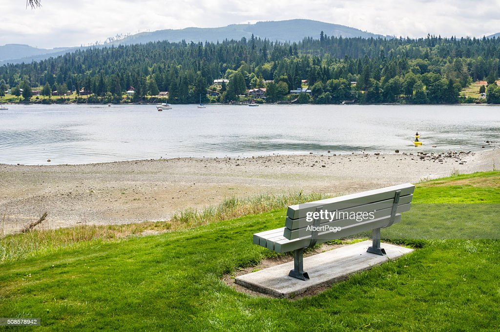 Lonely Bench in fornt of a Beach : Stock Photo
