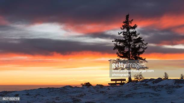 Lonely bench on Schöckl during sunrise