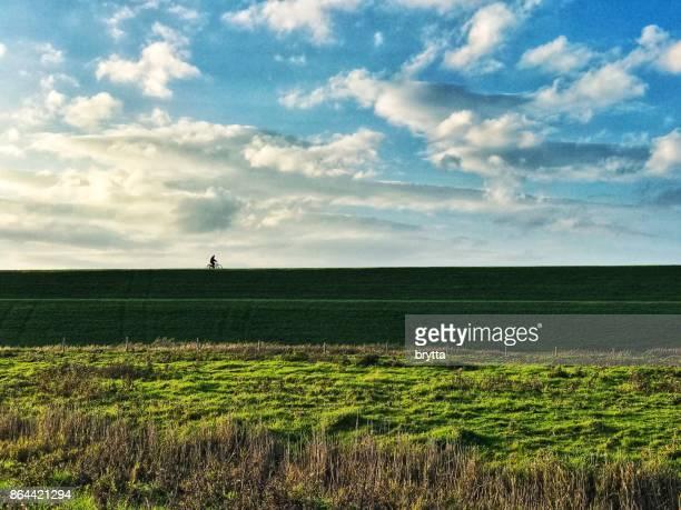 オランダ、ゼーラント州 Yerseke で堤防上の孤独なサイクリスト