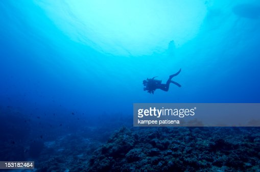 Lonely diver swimming