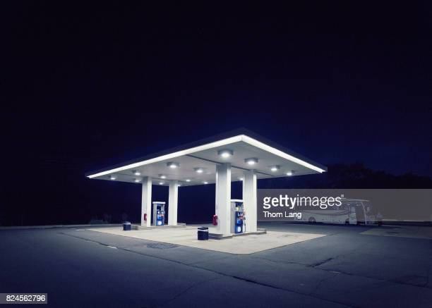 Lonely Gas Station at Night