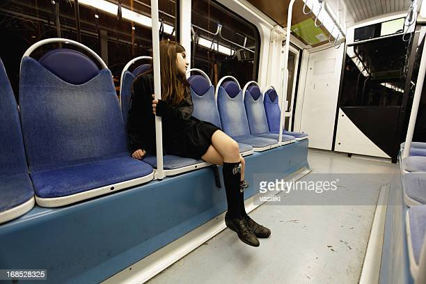 Lonely girl in subway