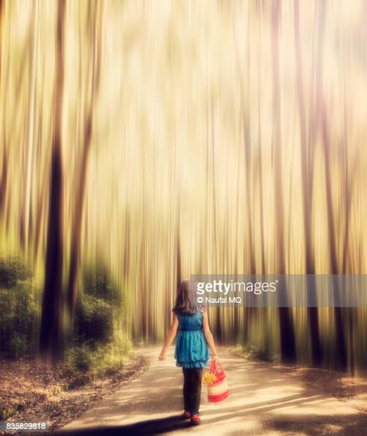 Lonely girl walking in the forest road