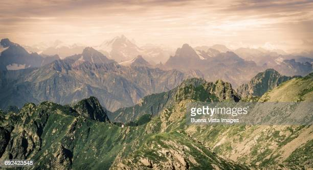 lonely house on a mountain ridge - piedmont italy stock pictures, royalty-free photos & images