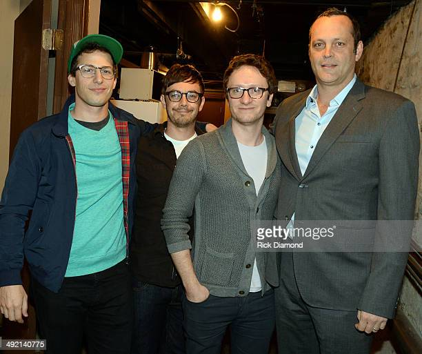 Lonely Island members Andy Samberg Jorma Taccone Akiva Schaffer and Actor/Comedian Vince Vaughn backstage during the Wild West Comedy Festival The...