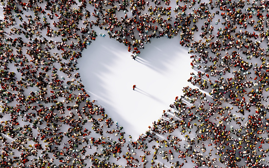 Lonely Man İn The Middle Of A Heart Shaped Void Surrounded By People 1075795008